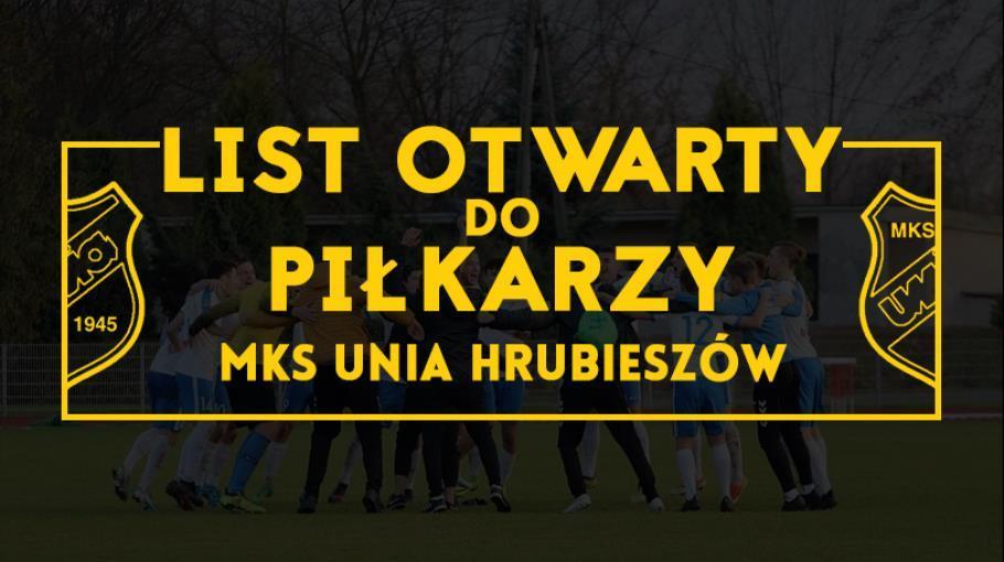 List otwarty do piłkarzy MKS Unia Hrubieszów.